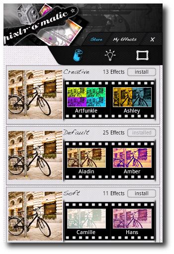 Opciones de edicion en Pixlr-o-matic