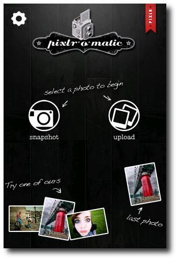 Pantalla principal Pixlr-o-matic