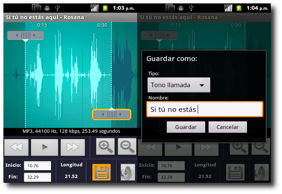 Opción Guardar Ringtone Maker