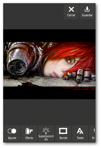 Interfaz de usuario editor de fotos
