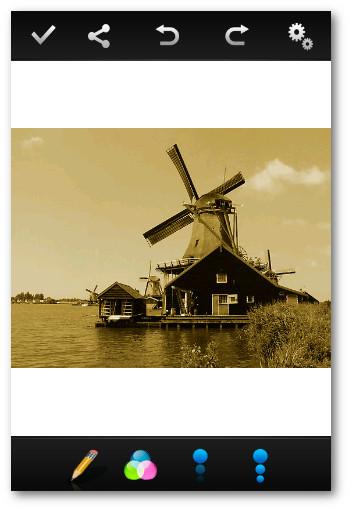 Barra de herramientas Photo Editor Android