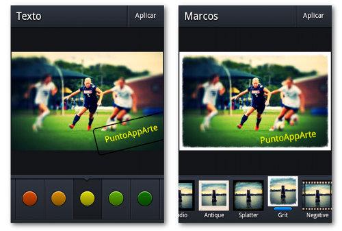 Texto y marcos en Focus Android